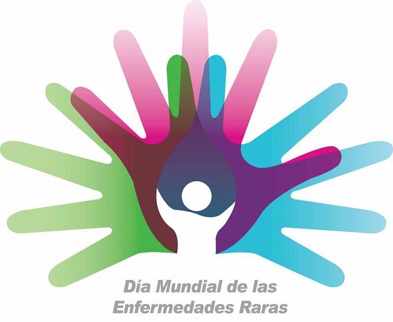Logo Día Mundial Enfermedades Raras. Tres manos de colores superpuestas con una figura humana blanca en el centro.