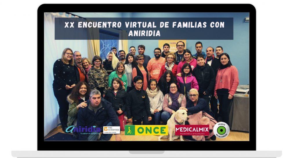 Foto grupo XIX Encuentro familias dentro de un ordenador. Logos: Aniridia, ONCE, medicalmix, tengo baja visión
