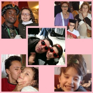 Collage de fotos de Ángela y su familia