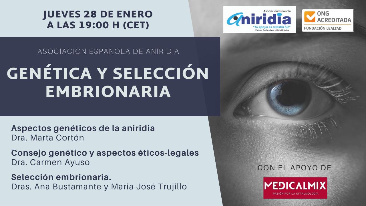 Cartel promocional aniridia mes a mes. Enero