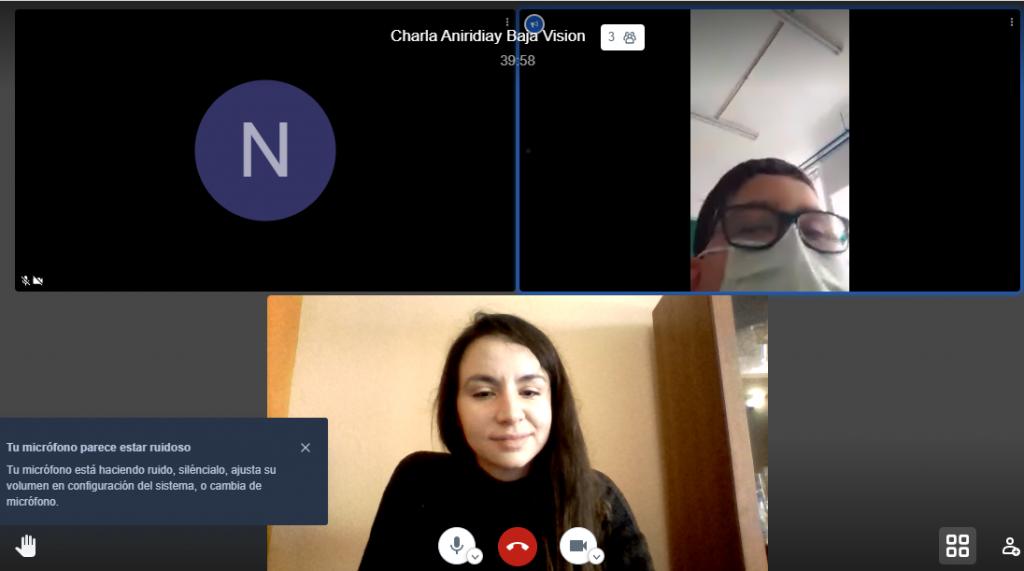 pantalla de ordenador dividida en 3 con trabajadora social de la AEA