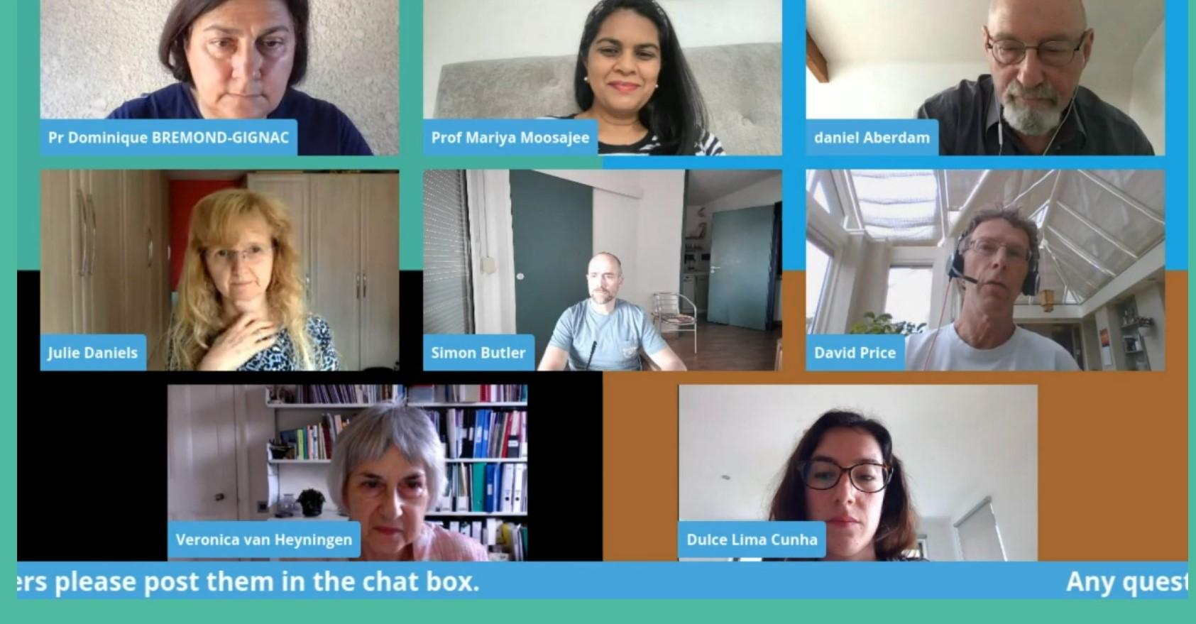 Captura de pantalla con ponentes en la conferencia europea de aniridia 2020